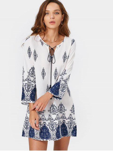 latest Long Sleeve Printed Tassels Mini Dress - BLUE AND WHITE M Mobile