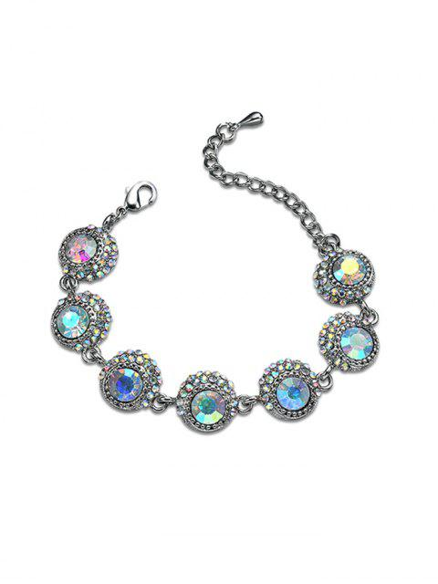 Sparkly Rhinestoned Statement Chain Bracelet - Argent  Mobile