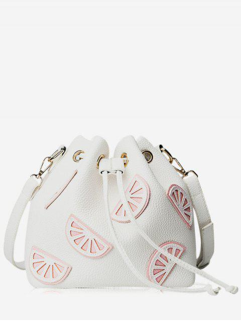 hot Colour Block Drawstring Bucket Bag - WHITE  Mobile