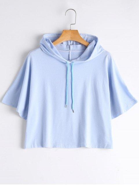 Sudadera con capucha recortada con cordón - Azul L Mobile