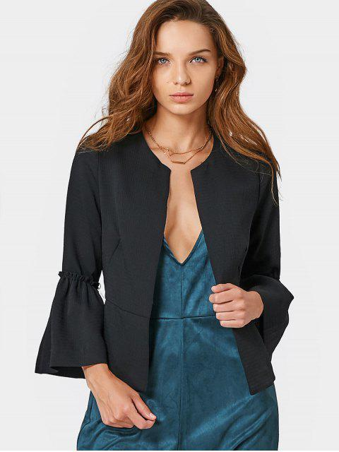 new Flounces Flare Sleeve Open Front Blazer - BLACK M Mobile