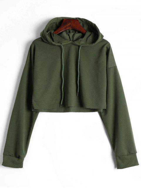 new Drop Shoulder Drawstring Crop Hoodie - ARMY GREEN S Mobile