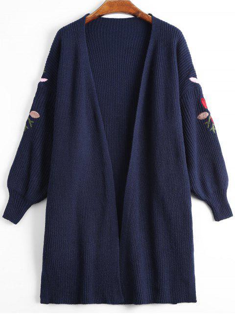 Chaqueta de manga corta con bordados florales - Azul Purpúreo Talla única Mobile