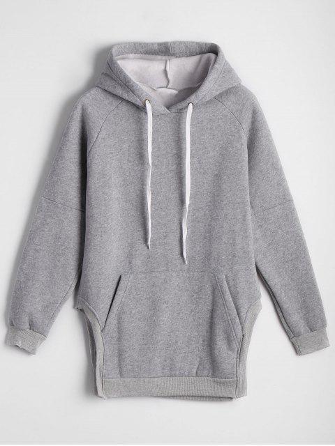 Übergröße Hoodie mit Fronttasche und seitlichem Schlitz - Grau Eine Größe Mobile