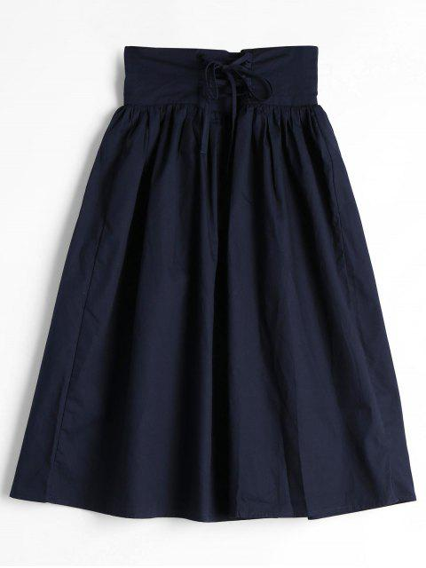 Lace Up Alta Cintura Una falda de línea - Azul Purpúreo XL Mobile