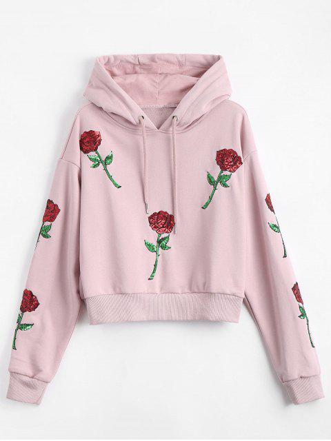 Sudadera con capucha floral remendada del lazo de - Rosado L Mobile