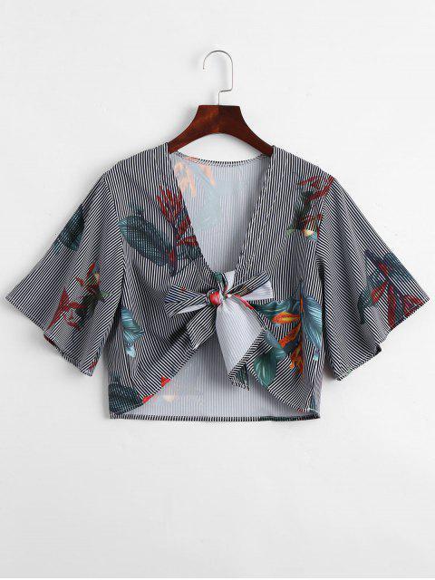 Plunging cuello floral con rayas blusa con cinturón - Raya XL Mobile