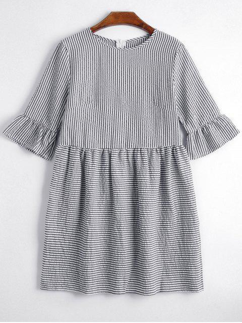 shops Round Collar Striped Dress - BLACK M Mobile