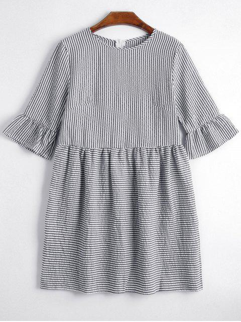 fashion Round Collar Striped Dress - BLACK S Mobile