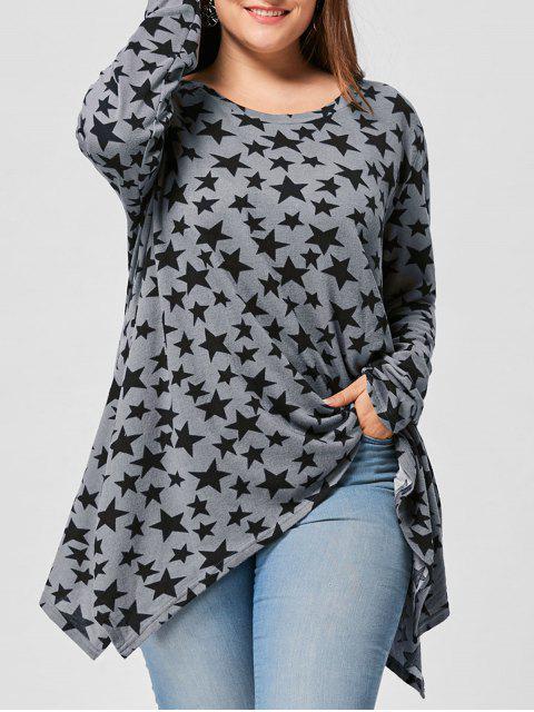 Talla grande Allover Star Camiseta de manga larga - Gris XL Mobile