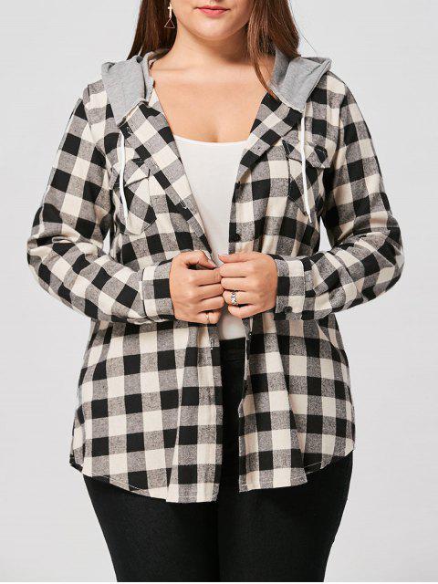 hot Plus Size Flap Pockets Plaid Shirt Hoodie -   Mobile