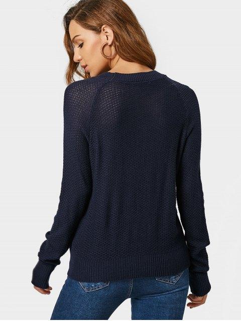 ladies Loose Lace Up Sheer Sweater - PURPLISH BLUE S Mobile