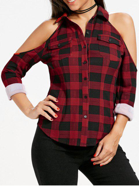 outfits Flap Pockets Plaid Cold Shoulder Shirt - RED XL Mobile