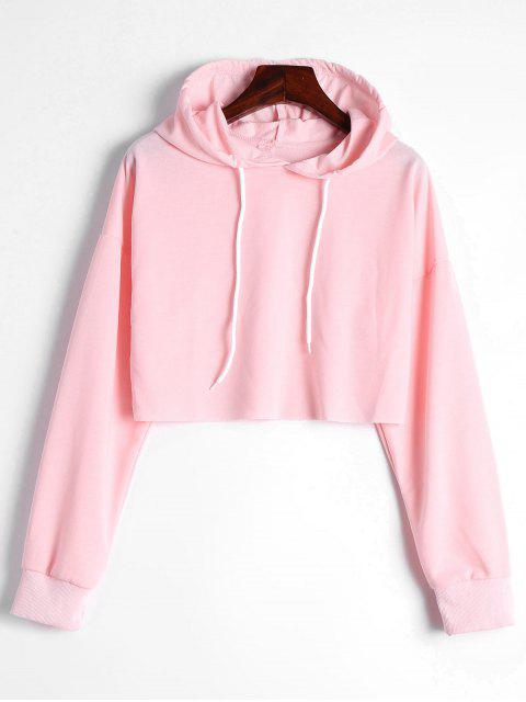 new Drop Shoulder Drawstring Crop Hoodie - LIGHT PINK XL Mobile