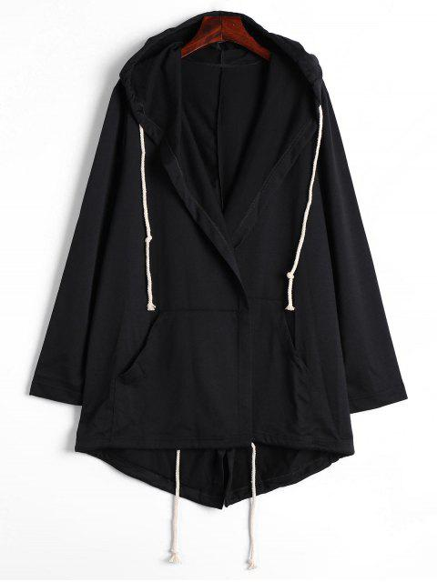 fancy Drawstring Hooded Coat with Pockets - BLACK M Mobile