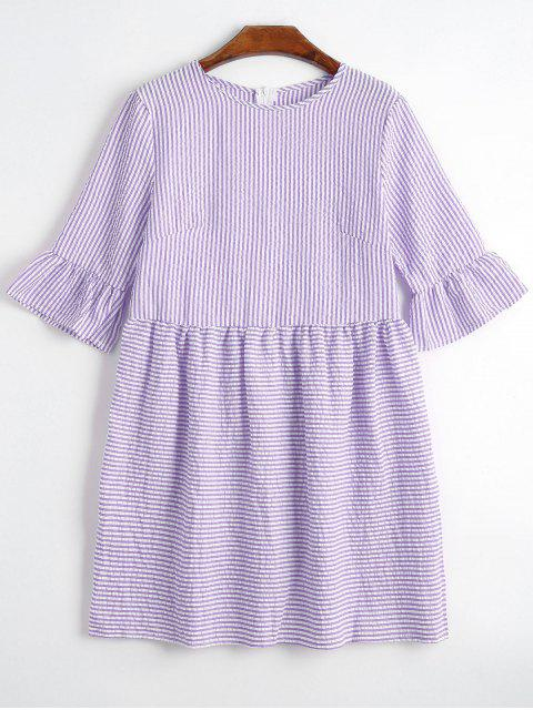 new Round Collar Striped Dress - PURPLE L Mobile