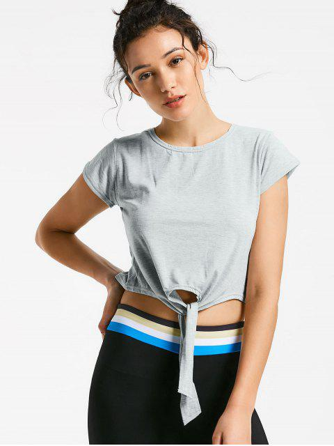 womens Front Knot Crop Top - GRAY M Mobile