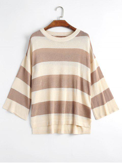 Plus Size Striped Knit Side Slit Pullover - Khaki 3XL Mobile