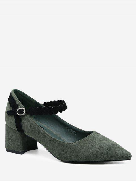 trendy Ankle Wrap Block Heel Pumps - GREEN 37 Mobile