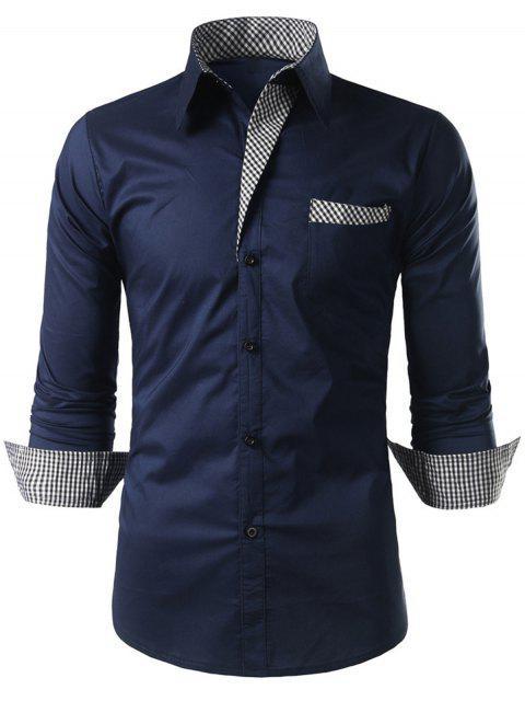 affordable Plaid-trim Long Sleeve Shirt - CADETBLUE L Mobile
