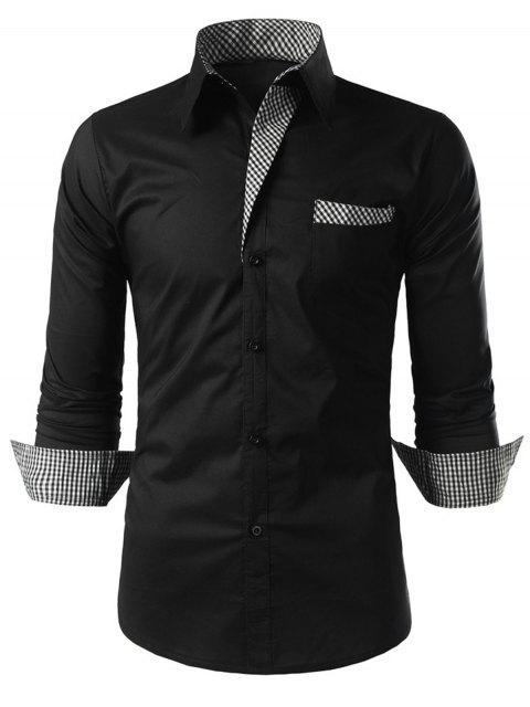 Chemise à Manches Longues avec Bordures à Carreaux - Noir M Mobile