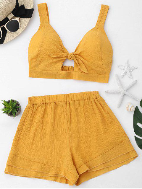 Schlitz Crop Top und Shorts Set - Ingwer-Gelb L Mobile