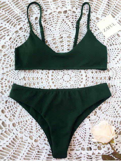Conjunto de bikini Bralette de corte alto - Verde negruzco S Mobile
