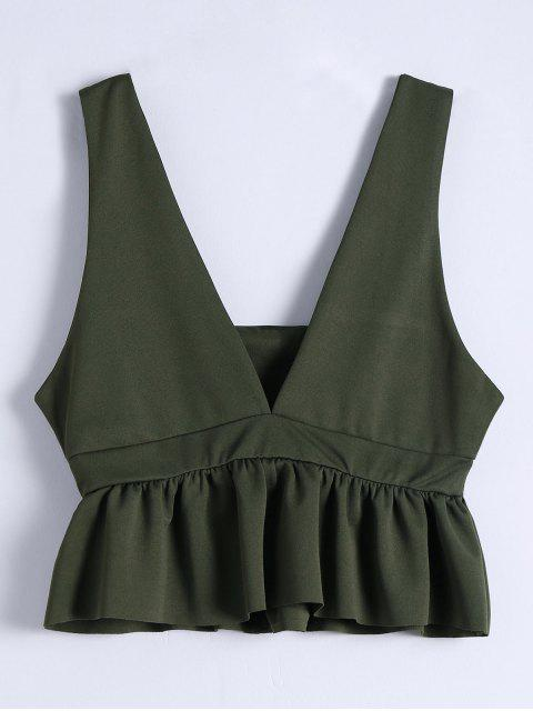 trendy Plunging Neck Ruffle Hem Tank Top - ARMY GREEN M Mobile