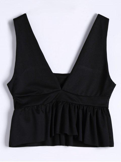 affordable Plunging Neck Ruffle Hem Tank Top - BLACK M Mobile