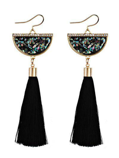 Tassel Pendant Half Round Fish Hook Earrings - Negro