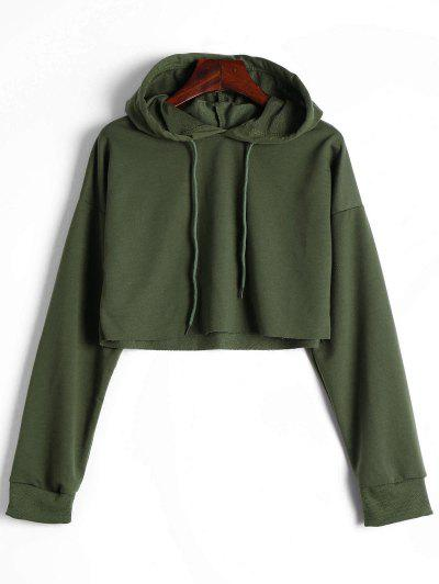 Drop Shoulder Drawstring Crop Hoodie - Army Green S