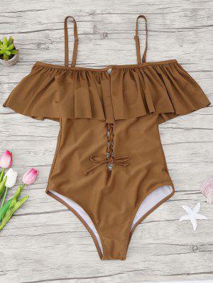 Ruffles Lace Up Backless One Piece Swimwear - Brown Xl
