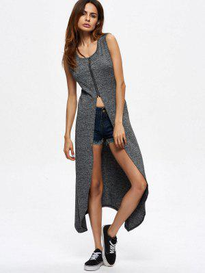 High Slit Zip Up Tapa Asimétrica - Gris L