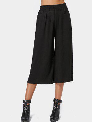 Capri High Waisted Belted Wide Leg Pants - Black