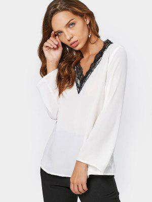 V Neck Lace Panel Chiffon Blouse - White Xs