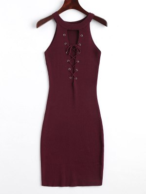 Knitting Lace Up Bodycon Dress - Wine Red