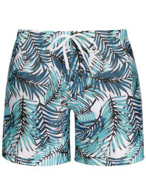 Leaf Print Swim Trunks
