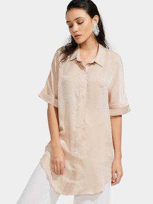 Camisa De Palangre Lisa De Botão Acima - Damasco L