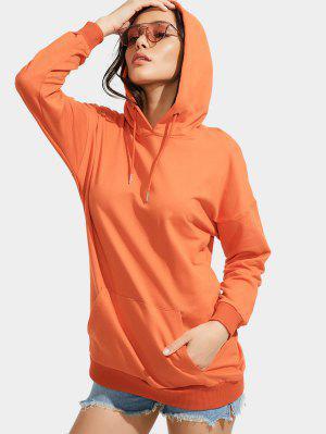 Front Pocket Drop Shoulder Long Hoodie - Orange S