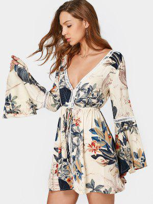 Flare Sleeve Cut Out Floral Mini Dress - Floral M