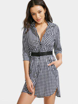 Button Up Checked Belted Dress - Checked S