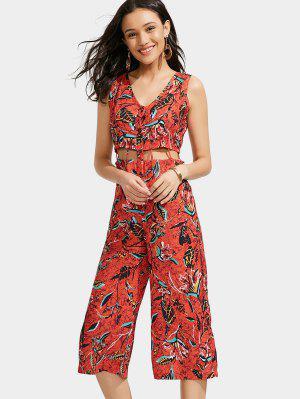 Hojas Imprimir Corte Jumpsuit Wide Leg - Rojo - Rojo L