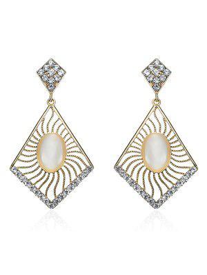 Faux Opal Rhinestone Geometric Oval Earrings - Golden
