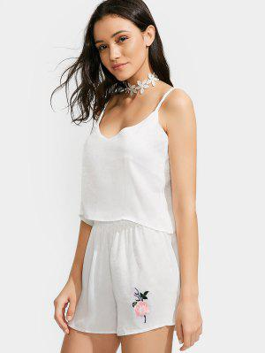 Satin Camis And Flower Applique Shorts Set - White - White Xl