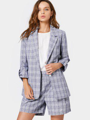Buttoned Checked Blazer And High Waisted Shorts - Checked - Checked S