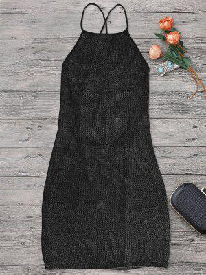Strappy Apron Neck Beach Cover Up Dress - Black - Black