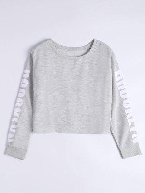 Letter Print Drop Shoulder Sweatshirt - Light Gray Xl
