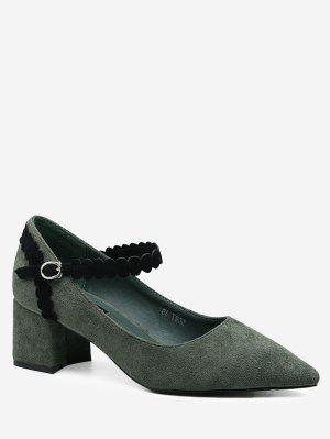 Ankle Wrap Block Heel Pumps - Green - Green 38