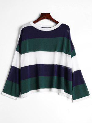 Contrast Drop Shoulder Knitted Tee - Blackish Green