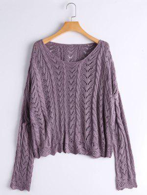 Scalloped Sheer Oversized Sweater - Purple